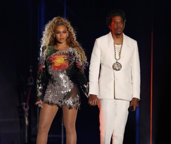 DETROIT - AUGUST 13: Beyonce and Jay-Z perform on the 'On The Run II' tour at Ford Field on August 13, 2018 in Detroit, Michigan. (Photo by Raven Varona/Parkwood/PictureGroup)
